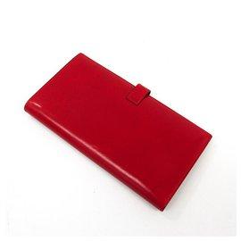 Hermès-Hermes Red Bo Calf Saumur Dianne Wallet-Red