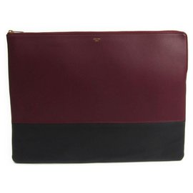 Céline-Celine Black Bi-Color Solo Clutch-Black,Red,Other