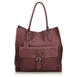 b1a6cd1cc Fendi-Fendi Red Selleria Leather Pocket Tote Bag-Red,Dark red ...