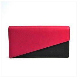Yves Saint Laurent-Pochette YSL en cuir bicolore noir-Noir,Rose
