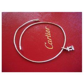 Cartier-Collier ras du cou et pendentif Cartier en or blanc et diamants-Argenté