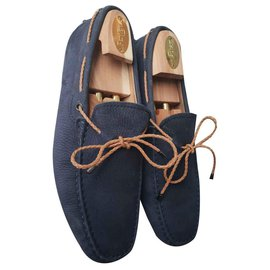 Tod's-TOD'S moccasin City gommions velvet leather-Blue