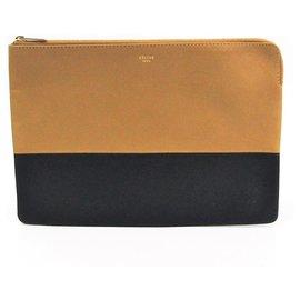 Céline-Celine Brown Bicolor Leather Clutch-Brown,Black,Beige