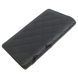 Chanel-Chanel Black Quilted Lambskin Cambon Ligne Wallet-Black,Pink