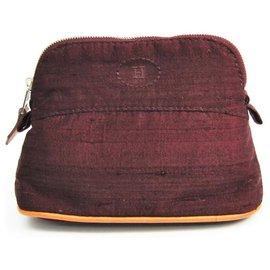 Hermès-Étui de voyage mini-bolide en toile rouge Hermes-Rouge,Autre