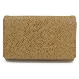 Chanel-Chanel Brown Caviar Key Holder-Brown,Beige