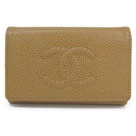 Chanel-Porte-clés Chanel Brown Caviar-Marron,Beige