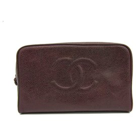 Chanel-Chanel Brown CC Caviar Leather Pouch-Brown,Dark brown