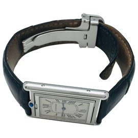 "Cartier-Cartier ""Tank tilting"" watch in steel, Leather bracelet.-Other"