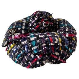 Chanel-Camélia tweed-Rose,Bleu,Écru,Jaune