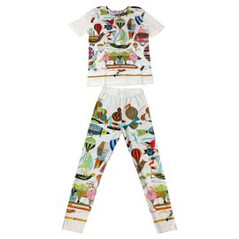 Hermès-Pantalons, leggings-Blanc