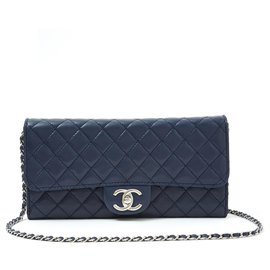 Chanel-WALLET ON CHAIN WOC NAVY SILVER-Navy blue