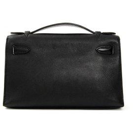 Hermès-KELLY CLUTCH BLACK GOLD-Noir
