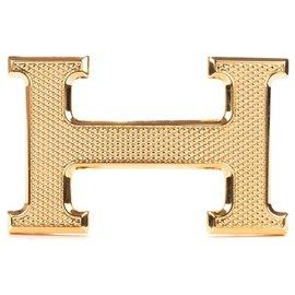 """Hermès-Boucle de ceinture Hermès H modèle """"Guillochée"""" doré état neuf!-Doré"""