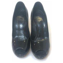 Burberry-Burberry Black Peep-Toe Pumps-Black