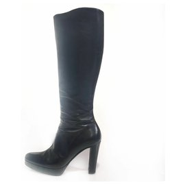 Céline-Celine Black Knee-High Leather Boots-Black