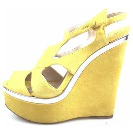 Miu Miu-Miu Miu Yellow Suede Peep-Toe Platform Wedge Sandal-Silvery,Yellow