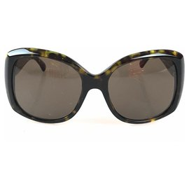 Chanel-Chanel Brown Tortoise Shell Butterfly Sunglasses-Brown,Yellow,Dark brown