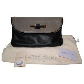 Jimmy Choo-Pochette Jasmine BICOLORE XL-Noir,Taupe