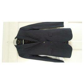 Burberry Prorsum-Erhabene Jacke Blazer BURBERRY PRORSUM Leinen 36 wie neu-Marineblau