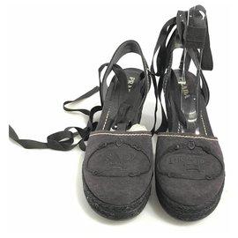 Prada-Prada Black Canapa Wedge-Black