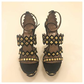 Alaïa-Azzedine Alaia Black Suede Wedge Sandal-Black
