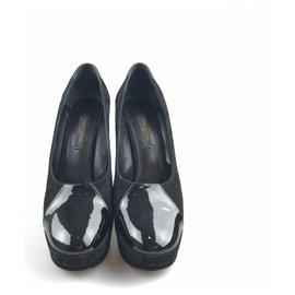 Louis Vuitton-Louis Vuitton en daim noir et pompe vernie-Noir