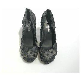 Chanel-Chanel Black Camellia Pumps-Black