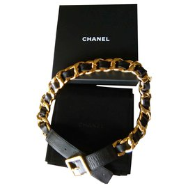 Chanel-CHANEL Gold Plated Buckle Leather Belt-Black,Golden