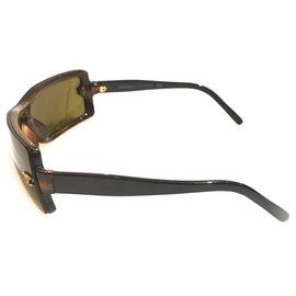 Chanel-Chanel Brown Rimless Wrap-Around Sunglasses-Brown,Dark brown