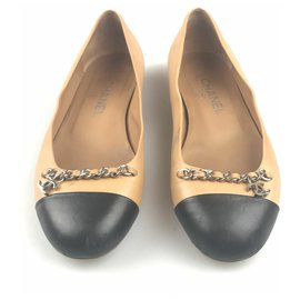 Chanel-Chanel Brown Cap-Toe Ballet Flats-Brown,Black,Light brown