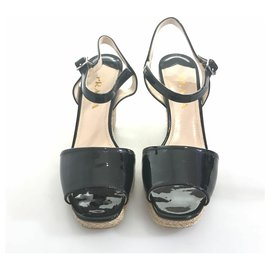 Prada-Prada Black Patent Leather Wedge-Black