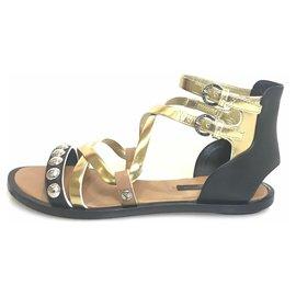 e0da46b76ef Louis Vuitton-Louis Vuitton Black Bi-color Leather Gladiator Sandal-Black