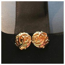 Chanel-Yellow Gold Plated Earrings 18 K Logo CC-Golden