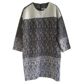 Céline-Celine black & white raffia-effect jacquard dress.-Grey