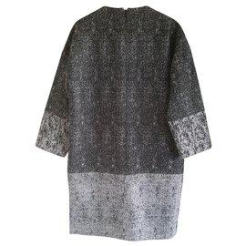 Céline-Celine black & white raffia-effect jacquard dress.-Grey