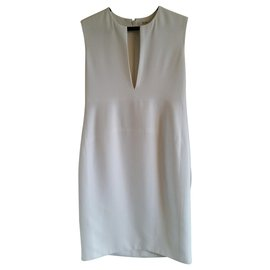 Céline-New with defect Céline white sleeveless sheath dress.-Cream