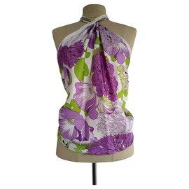5a090216102 Burberry-Foulard grand carré floral Burberry-Violet ...