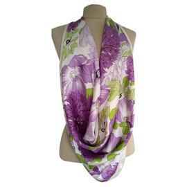 Burberry-Burberry floral large square scarf-Purple
