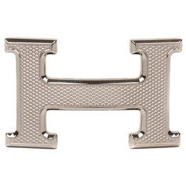 """Hermès-Boucle de ceinture Hermès H modèle """"Guillochée"""" argenté état neuf!-Argenté"""