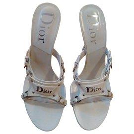 Dior-Christian Dior Talons Sandales en cuir blanc chaud-Blanc