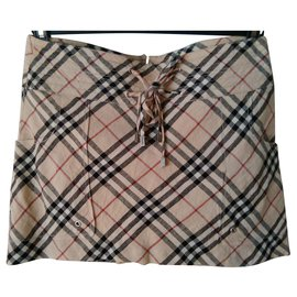 Burberry-BURBERRY  signature patterned mini skirt-Beige
