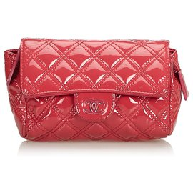 Chanel-Chanel Pink Matelasse Patent Leather Cosmetic Pouch-Pink