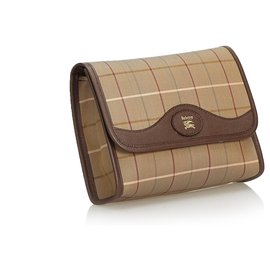 Burberry-Burberry Brown Plaid Jacquard Clutch Bag-Brown,Multiple colors,Khaki