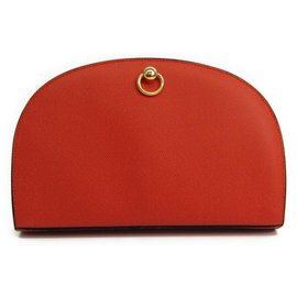 Céline-Celine Red Leather Wallet-Red