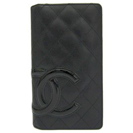 Chanel-Portefeuille Ligne Cambon en agneau matelassé noir Chanel-Noir,Rose