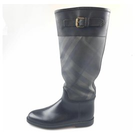 Burberry-Burberry Black Leather Rain Boot-Black