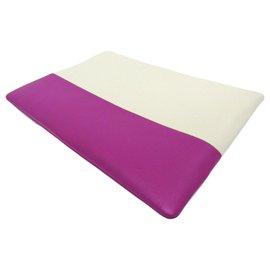 Céline-Celine White Bi-Color Solo Clutch-White,Purple