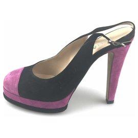 Chanel-Chanel Black Suede Slingback Pump-Black,Purple