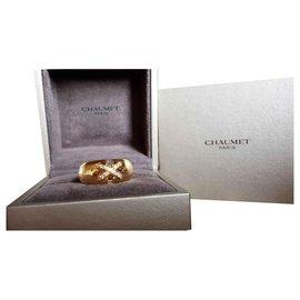 """Chaumet-Bague """"LIEN"""" double avec diamants-Doré"""